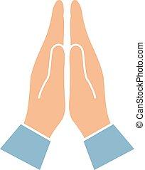 simbolo, mani, namaste, augurio