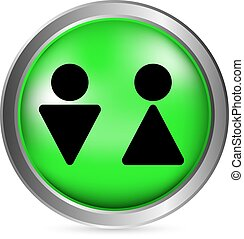 simbolo, maschio, bottone, femmina, bagno