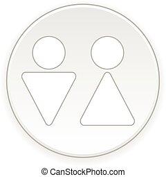 simbolo, maschio, button., femmina, bagno