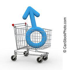 simbolo, maschio, shopping, dentro, carrello