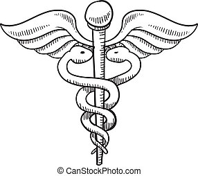 simbolo, medico, schizzo, caduceo
