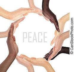 simbolo, multirazziale, mani umane, concettuale, fabbricazione, cerchio