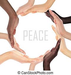 Simbolo, Multirazziale, umano, mani, concettuale, fabbricazione, cerchio