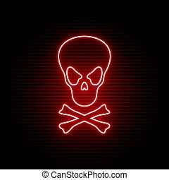 simbolo, neon, cranio