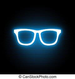 simbolo, neon, occhiali