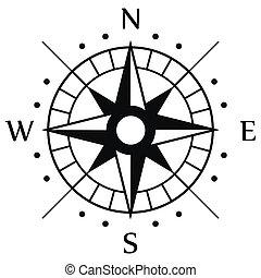 simbolo, nero, bussola