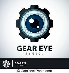 simbolo, occhio, ingranaggio, icona