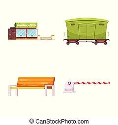 simbolo, oggetto, web., isolato, collezione, stazione treno, icon., biglietto, casato