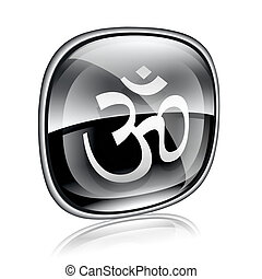simbolo om, isolato, fondo., nero, vetro, bianco, icona
