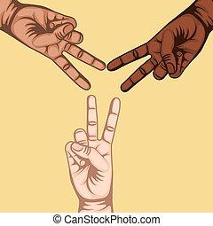 simbolo, pace, amore, mano