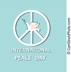 simbolo, pace, augurio, carta, internazionale, colomba, giorno, scheda