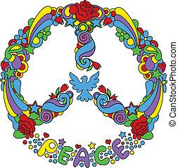 simbolo pace, con, fiori