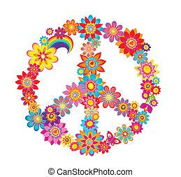 simbolo, pace, fiore, colorito