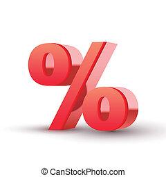simbolo, percento, rosso