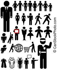 simbolo, persona, silhouette, set
