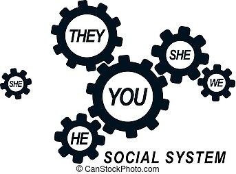 simbolo., persona, società, vettore, relazioni, sociale, ...