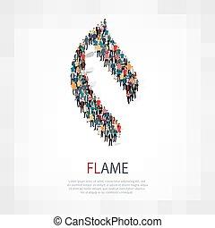 simbolo, persone, fiamma, 3d