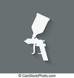 simbolo, pistola spruzzo