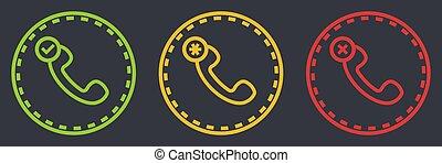 simbolo, retro, telefono, contorno, set, dashed, microtelefono