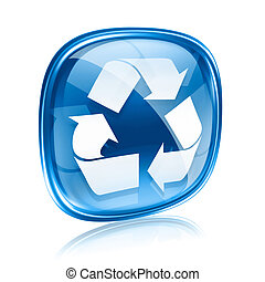 simbolo ricicla, icona, vetro blu, isolato, bianco, fondo.