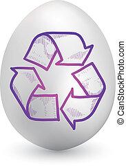 simbolo ricicla, su, uovo di pasqua