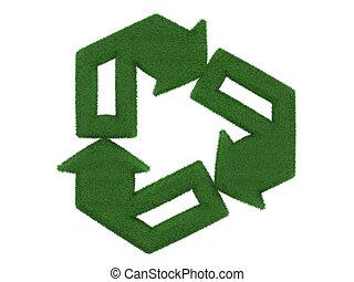 simbolo, riciclaggio, isolato, fondo, bianco, erba