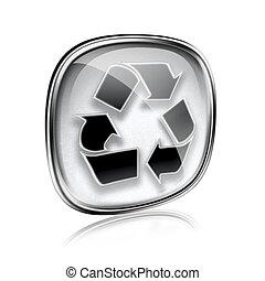 simbolo, riciclaggio, isolato, grigio, fondo., vetro, bianco, icona