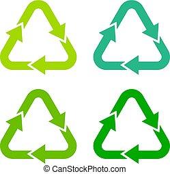 simbolo, riciclaggio, verde, freccia