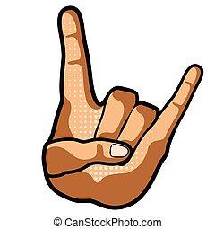 simbolo, roccia, mano