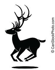 simbolo, saltare, cervo