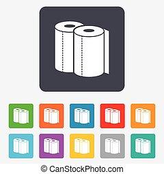 simbolo., segno, asciugamani carta, icon., rotolo, cucina