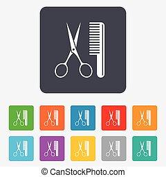 Forbici simbolo pettine simbolo fondo forbici bianco for Simbolo barbiere