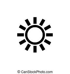 simbolo, semplice, sagoma, segno, regolazione, mobile, elemento, icona, disegno, intensità, appartamento, ui, nero, fondo., bianco, sun., vettore, illustration., luminosità, web, sole, luminoso