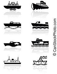 simbolo, set, barca, illustrazione