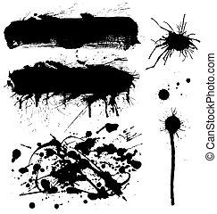 simbolo, set, isolato, bianco, inchiostro
