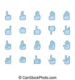 simbolo, set, mano, icona