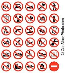simbolo, set, proibizione