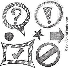 simbolo, set, schizzo, segno