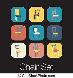 simbolo, set., sedia, icona, mobilia