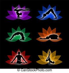 simbolo, set, yoga, meditazione