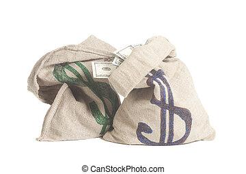 simbolo soldi, dollaro, isolato, borsa, bianco
