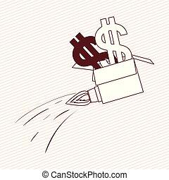 simbolo soldi, su, razzo, inizio