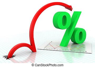 simbolo, spostamento, percentuale, freccia