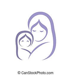 simbolo, stilizzato, bambino, vettore, madre, icona