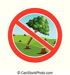 simbolo, taglio, fermata, albero