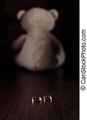 simbolo, teddy, divorzio, concept., anelli, separazione, famiglia, orso, child., legge