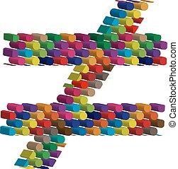 simbolo, tridimensionale, colorito