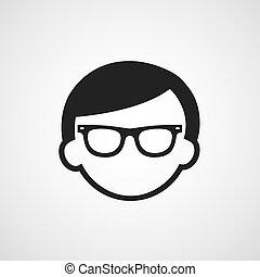simbolo, uomo, occhiali