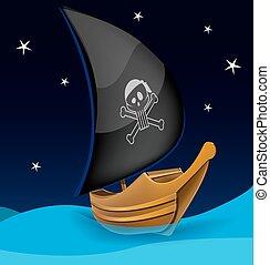 simbolo, vela, fondo, notte, pirata, barca