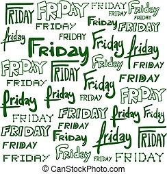 simbolo, venerdì, set, collezione